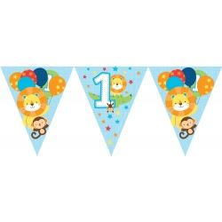 One Is Fun Jungle Boy Party Flag Banners