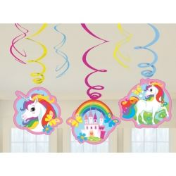 Rainbow Unicorn Party Swirl Decorations