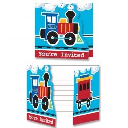 All Aboard Steam Train Birthday Party Invitations
