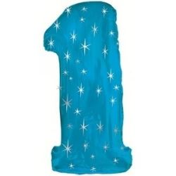 Blue Sparkle Supersized Foil Balloon Number 1