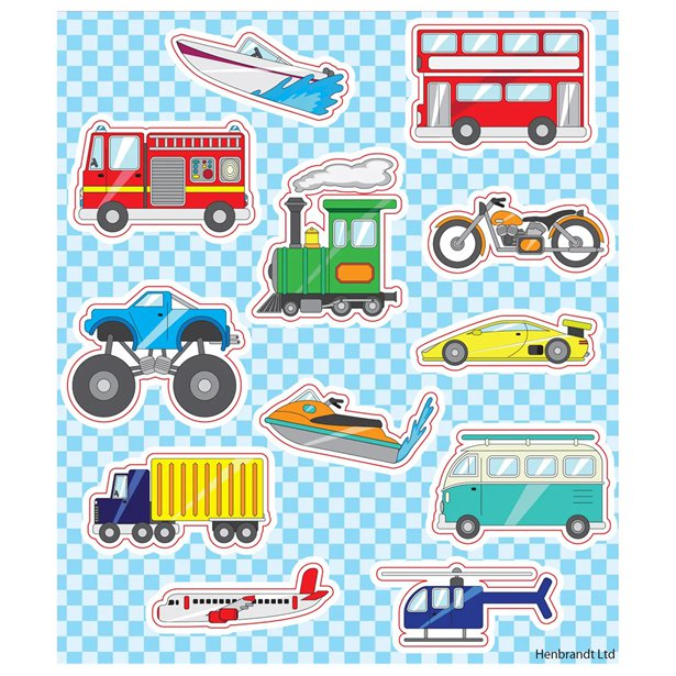 Party Favour Transport Stickers