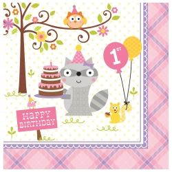 Happi Woodland Girl 1st Party Napkins