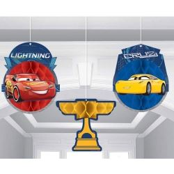 Cars 3 Party Hanging Honeycomb Decorations
