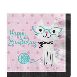 Purr-fect Party Happy Birthday Party Napkins