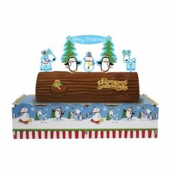 Joyful Snowman Yule Log Christmas Cake Stand