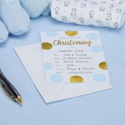 Pattern Works Pick & Mix Blue Pink Christening Invitations