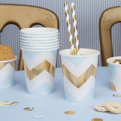 Pattern Works Pick & Mix Glitz Blue Chevron Party Cups