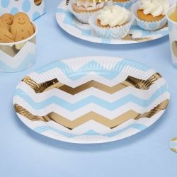 Pattern Works Pick & Mix Glitz Blue Chevron Party Plates