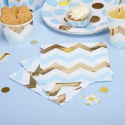 Pattern Works Pick & Mix Glitz Blue Chevron Party Napkins