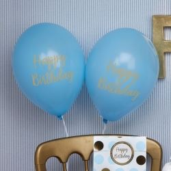 Pattern Works Pick & Mix Glitz Blue Happy Birthday Balloons