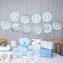 Pattern Works Pick & Mix Glitz Blue Baby Shower Banner