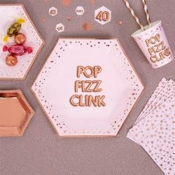 Glitz & Glamour Pink & Rose Gold Plate Pop Fizz Clink