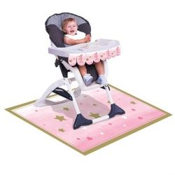 One Little Star Pink Girl Party High Chair Kit