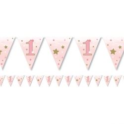 One Little Star Pink Girl Party Flag Banner