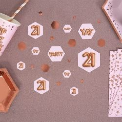 Glitz & Glamour Pink & Rose Gold 21st Party Confetti