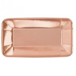 Rose Gold Metallic Rectangle Party Platters