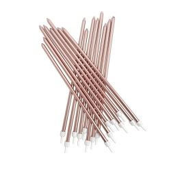 Extra Tall Candles Metallic Rose Gold & Holders