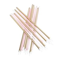 Extra Tall Candles  Metallic Pink Gold With Holders