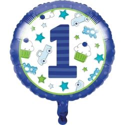 Doodle 1st Birthday Boy Party Metallic Foil Balloons