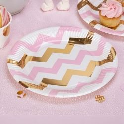 Pattern Works Pick & Mix Glitz Pink Chevron Party Plates