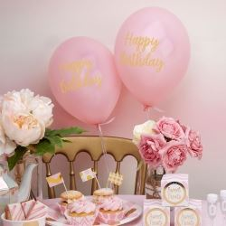 Pattern Works Pick & Mix Glitz Pink Happy Birthday Balloons