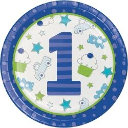 Doodle 1st Birthday Boy Party Plates