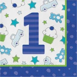 Doodle 1st Birthday Boy Party Napkins