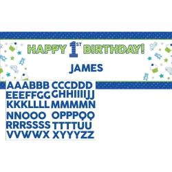 Doodle 1st Birthday Boy Party Giant Banner