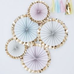 Pastel Hip Hip Hooray Party Fan Decorations