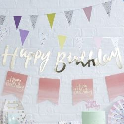 Pastel Hip Hip Hooray Happy Birthday Party Banner