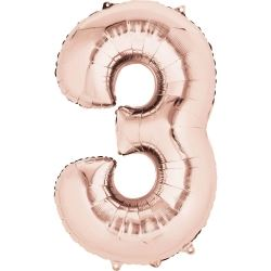 Rose Gold Mini Number Shaped Balloons Age 3