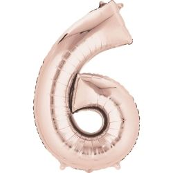 Rose Gold Mini Number Shaped Balloons Age 6