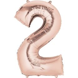 Rose Gold Mini Number Shaped Balloons Age 2