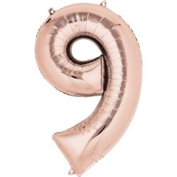 Rose Gold Mini Number Shaped Balloons Age 9
