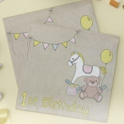Rock A Bye Baby Party 1st Birthday Napkins