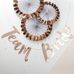 Team Bride Rose Gold Letter Banner