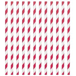 Red Stripped Paper Drinking Straws