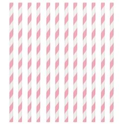 Light Pink Stripped Paper Drinking Straws