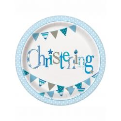 Blue Christening Party Plates