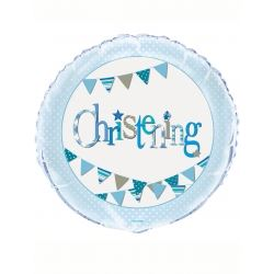 Blue Christening Party Foil Balloons