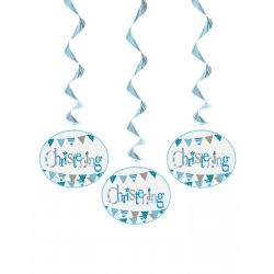 Blue Christening Party Hanging Swirls