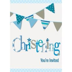 Blue Christening Party Invitations