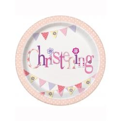 Pink Christening Party Plates