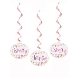 Pink Christening Party Hanging Swirls