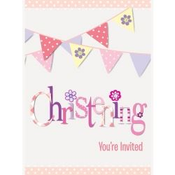 Pink Christening Party Invitations