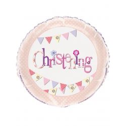 Pink Christening Party Foil Balloons