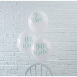 Hello World Baby Shower Party Balloons