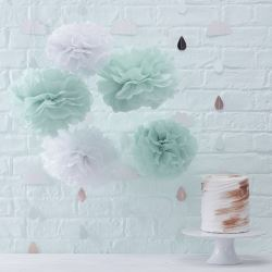 Hello World Baby Shower Tissue Pom Pom Decorations