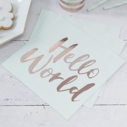 Hello World Baby Shower Party Napkins