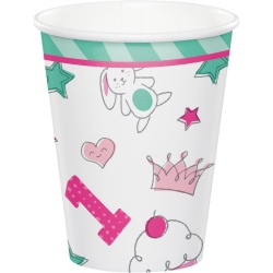 Doodle 1st Birthday Girl Party Cups